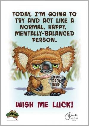Grumpy Drop Bear – Wish Me Luck